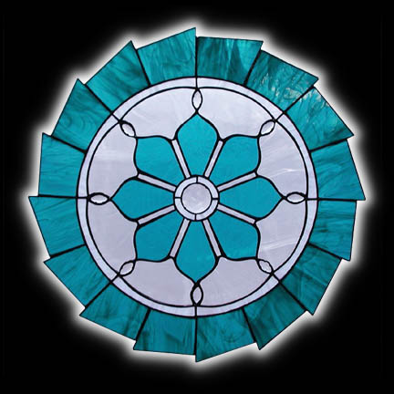 Round Hanging Stained Glass Art Window in Teal